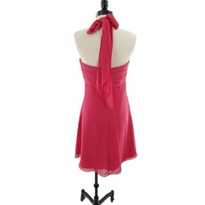 Bill Levkoff halter dress in watermelon pink sz 10